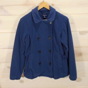 Lands End Navy Double Breasted Fleece Pea Coat
